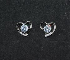 Beautiful 18ct/18k White Gold Filled Heart White Sapphire Stud Earrings