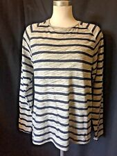 PULL & BEAR long sleeved blue & grey striped jersey top size small /10