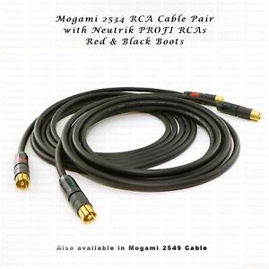MOGAMI 2549 / 2534 RCA Interconnects PAIR - NEUTRIK ProFi Professional RCAs