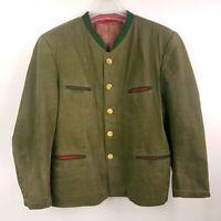 Lodenfrey Trachten Jacket Janker Bavarian Loden Octoberfest Cotton Size 28 Green