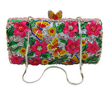 AnthonyDavid Fuchsia Pink Tropical Flower & Butterfly Silver Crystal Evening Bag