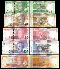 SOUTH AFRICA FULL SET 5 PCS 10-20-50-100-200 RAND 2012-2016  NEW UNC