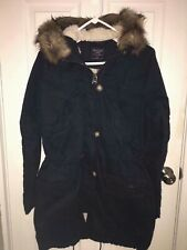 NWT Abercrombie & Fitch SHERPA-LINED TWILL PARKA HOODED FAUX FUR JACKET S Navy