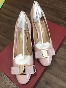 NIB NEW Salvatore Ferragamo Erice Bon Bon Patent bow pumps shoes 5.5cm Sz 5.5C