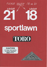 TORO 1970s Sportlawn Lo-Cut 18 or 21 Vintage Mower Repro Decals