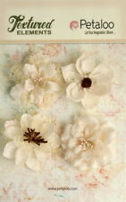 Burlap Flowers 4 x IVORY Approx 55-60mm across & varied centres Petaloo E