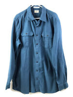 Vintage LL Bean Chamois Button Up Shirt Mens XLT Blue Long Sleeve Cotton Heavy