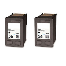 2 x HP 56 Black Ink Cartridges Remanufactured Inkjet For Deskjet 5550 5650 5850