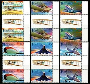 Alderney Stamps 2003 SG A204-209 Centenary of Powered Flight Gutters Mint MNH