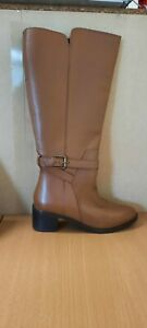 Leather High Leg Boots Wide E Fit Super Curvy Calf Width (Marks) - UK 6 - Womens