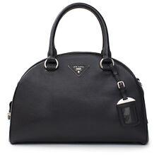Prada Bowling Bag Leather Black Silver Large Top Handle Leather Bag Handbag