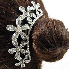 USA Hair Comb vintage Crystal Handmade Bridal wedding prom flower pin silver 18
