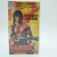 Rambo First Blood Part II VHS Tape vintage Stallone Thorn EMI HBO Clam Shell
