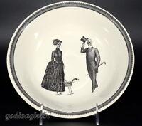 "Victorian English Pottery Royal Stafford 9"" SERVING BOWL Halloween, Man Lady Dog"