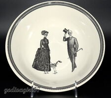 "Victorian English Pottery Royal Stafford 9"" SERVING BOWL Halloween, Man Lady Dog"