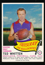 1966 Scanlens Footscray No. 54 Ted Whitten Die Cut Unpopped football card