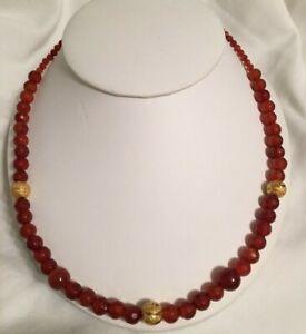 Vintage Faceted Carnelian Bead/Gold Filled Ornate Rondel Necklace