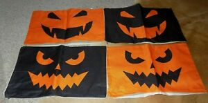"""HALLOWEEN Pillow Covers Set of 4 COTTON/LINEN 20 X 12""""-NIP"""