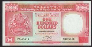 BANK OF HONG KONG & SHANGHAI CHINA 100 DOLLAR BANKNOTE 1992 UNCIRCULATED