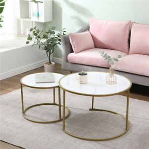 Homeke Set of 2 Coffee Table Living Room White/Black Marble Effect Nested Table