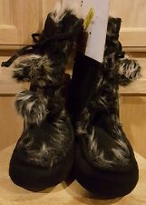 Jessica Simpson Black Faux Suede Lace-up Fur Lined/Trimmed Pom Bootie Slipper