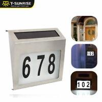 Solar Power LED Light Sign House Door Address Finder Plaque Number Digits Plate