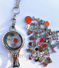 Floating Living Charm Lanyard Locket Lanyard With ID Badge Holder + 50 charm Lot