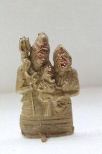 Vecchio Vintage Mano Crafted Santo Indù Dio Shiva Parvati Con Ganesha Statua