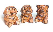 Die 3 weisen Affen nicht hören-sehen-sprechen Holz 10cm handgeschnitzt