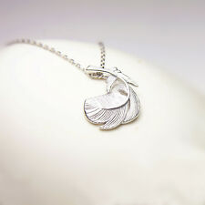 Solid 925 Sterling Silver Thick Puffy Feather Angel Wing Leaf Necklace Boxed