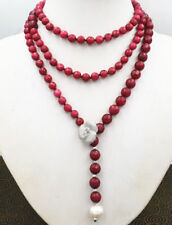 Jewelry 6-10mm faceted Brazil red Ruby 10-11mm pearl Hand knitting necklace 60""