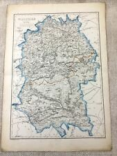 1858 Antique Map Wiltshire County England 19th Century Old Hand Coloured