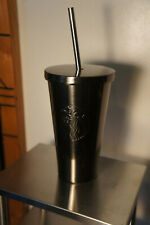NEW Starbucks Cold Cup Gunmetal Gray Stainless Steel With Lid Tumbler & Straw
