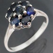 LOW SET Snowflake Solid 9k WHITE GOLD Natural Blue SAPPHIRE CLUSTER RING Sz P
