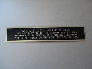 Mean Joe Green Steelers Nameplate For A Football Helmet Display Case 1.5 X 8