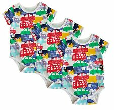 new car design short sleeve baby vests, grow, romper, 0-24 months pack of 3 or 6