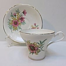 Aynsley Teacup & Saucer Bone China England, Pink Cornflowers, Used