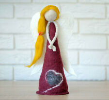 Felted angel figurine, holiday decor, nativity statue, Christmas tree topper