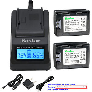 Kastar Battery LCD Fast Charger for Samsung IA-BP105R & HMX-H320 HMX-H320BN