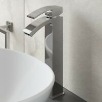Modern Mono High Rise Tall Basin Sink Mixer Tap Curved Spout Lever Handle Chrome