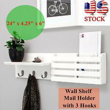 Mordern Wall Shelf Mail Holder Drop 3 Hanging Hooks Entryway Coat Rack