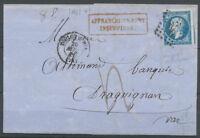 1860 Lettre N14 Cad T15 Toulon-S-mer + Griffe Affranchissement insuffisant X3644