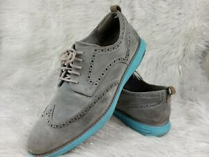 COLE HAAN Mens Gray Size 12 Suede Leather Blue Sole Lace Up Wingtip Casual Shoes