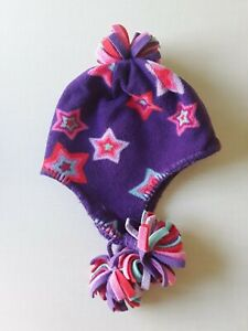 BABY GAP Toddler Girls Stars Print Fleece Winter Hat With Ear Flaps Size XS/S