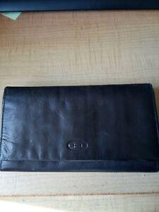 Vintage Black Real Leather Purse Wallet Unknown Logo