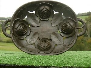 SUPERB 19thc BLACK FOREST OAK TRAY WITH CARVED ROSES
