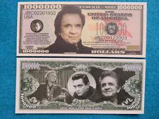"4 Bills: JOHNNY CASH ""The Man in Black"" Musician; $1,000,000 One Million Dollars"
