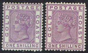 GOLD COAST 1884 QV 1/- BOTH SHADES