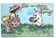A/S HBG GIRL Hatbox & White RABBIT Colored EASTER Eggs Embossed Gold Postcard