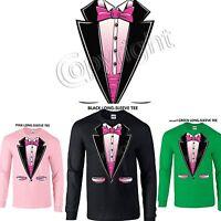 Tuxedo  Pink  Prom Wedding Long Sleeve T-Shirt  Small - 3XL